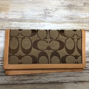 Coach Fabric & Leather Monogram Checkbook Cover